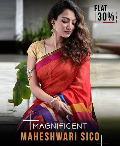 Buy Handloom Maheshwarisi sarees online from SHATIKA