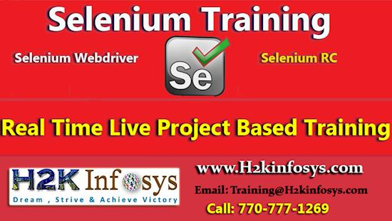 H2K Infosys is best portal of Selenium Online classes & job asst. in USA.