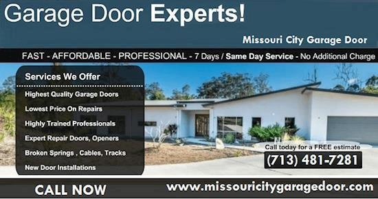 Call us (713) 481-7281 for Garage Door Installation in Missouri City, TX
