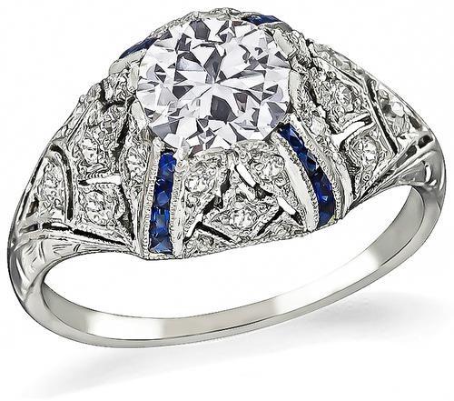 Art Deco Old Mine Cut Diamond Sapphire Platinum Engagement Ring