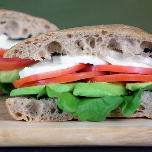Tomato, Mozzarella and Avocado Sandwich
