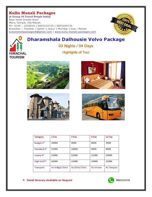 Dharamshala Dalhousie Volvo Tour Package
