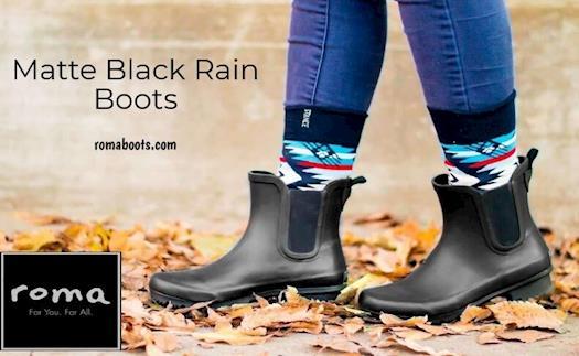 Matte Black Rain Boots | ROMA BOOTS