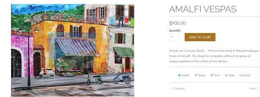 AMALFI VESPAS-Italy paintings by Ivan