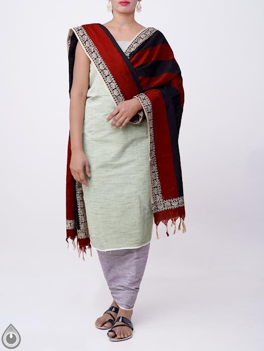 Unstitched Green-Blue Pure Andhra Khadi Cotton Salwar Kameez