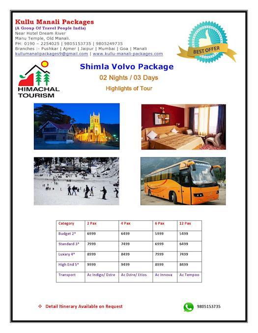 Shimla Volvo Tour Package