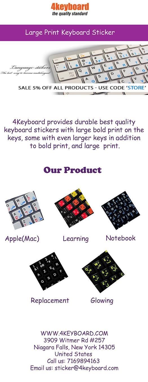 Large Print Keyboard Stickers - 4keyboard