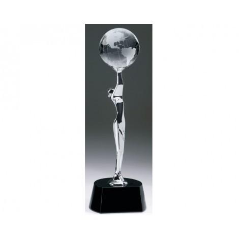 ''Global Celebration'' Chrome Figure - Crystal Globe