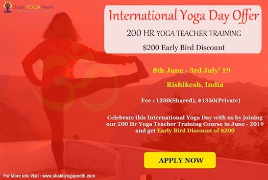 International Yoga Day Offer on 200 Hr Yoga Teacher Training in Rishikesh