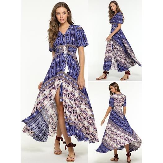 Compra el vestido floral en la tienda de moda al por mayor