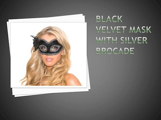 Cassinovas Black Velvet Mask With Silver Brocade