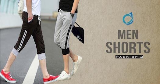 Velo Arabia Latest Bundle of 2 Stylish Rib Cuffed Shorts at Lowest Price!