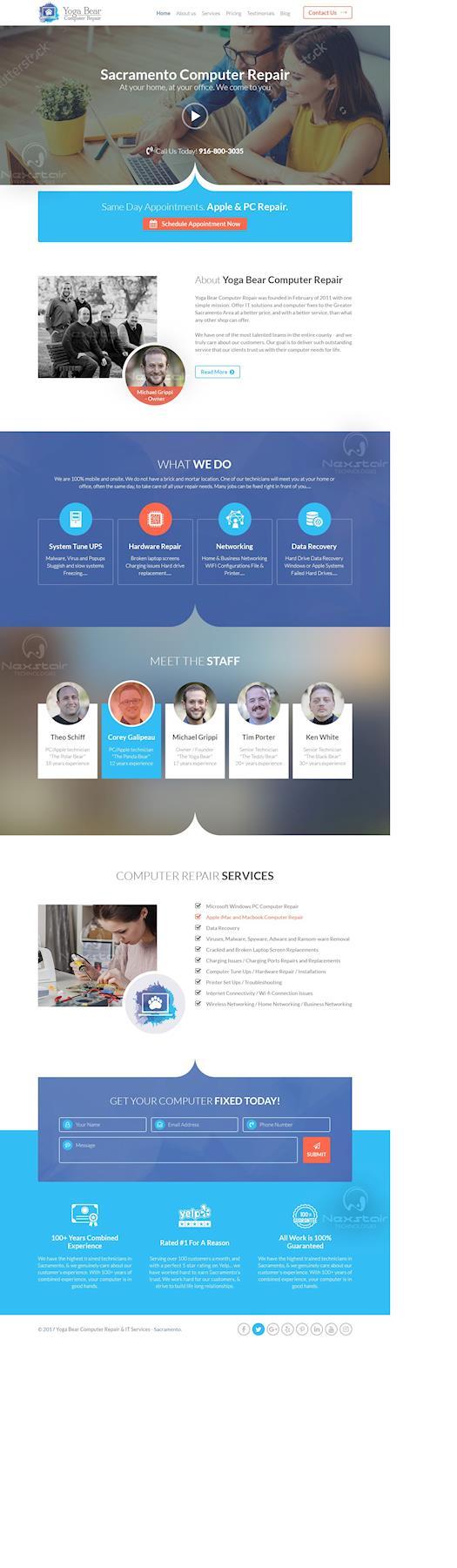 computer repair website template design by Nexstair