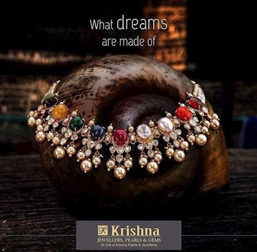 Navaratan gold with diamond necklace set.