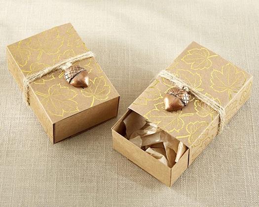 Gold Foil Leaf Favor Box