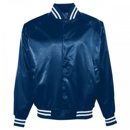 Blue Satin Baseball Jacket for Men
