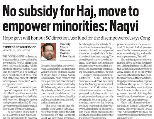 No Subsidy for #Haj , Move to Empower Minorities
